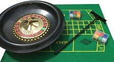 HUGE 16 INCH BOXED ROULETTE SET -WHEEL FELT 120 CHIPS RAKE