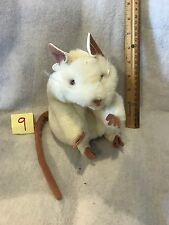 "Folkmanis White Mouse Rat Plush Stuffed Animal 7"" Hand Puppet GUC"