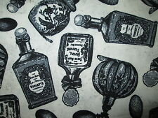 MAGIC POTIONS SPELLS BOTTLES BLACK WHITE COTTON FABRIC FQ