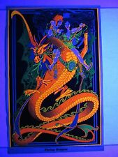 Vintage Blacklight Poster FLYING DRAGON Warriors Psychedelic Mini 17x11 RARE