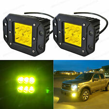 ASTORMOTOR Yellow LED Pod Fog DRL Light 4D Optic Projector w/ Dually Flush Mount