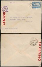 ADEN to INDIA WW2 SINGLE 1A FRANKING CENSOR No.16 DIAMOND 1941