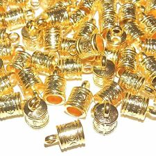 MX5113p Cord End Cap with Loop 6mm Inside 16x9mm Bright Gold Metal Alloy 48/pkg