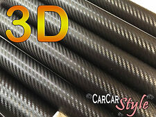 3D BLACK Air Free Carbon Fibre Vinyl 0.75m(29.5in) x 0.3m(11.8in) Wrap Car Decal