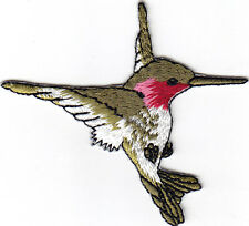 HUMMINGBIRD - GREEN w/PINK & WHITE - BIRDS-Iron On Embroidered Applique Patch