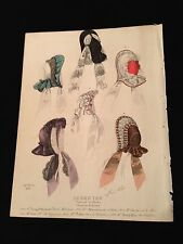 Antique French Print VICTORIAN High FASHION Plate Women's Hats LE BON TON