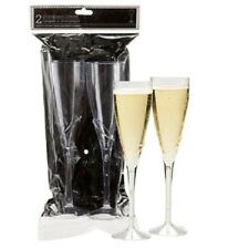 "Champagne Flutes Wedding Party 9"" Glasses Clear Plastic New 36 packs (72 pcs)"
