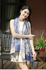 Noble Women's Water 100% Pashmina Floral Double Side Weave Shawl Wrap Scarf