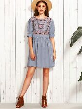 Floral Embroidered Striped Dress (Blue)