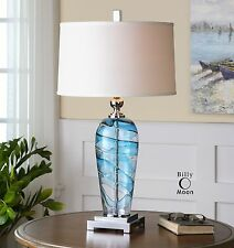 Aqua Turquoise Art Glass Table Lamp | Silver White Contemporary