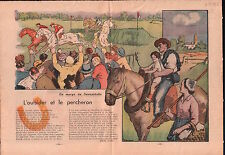 Horse racing Course de chevaux Sweepstakes Percheron France 1938 ILLUSTRATION
