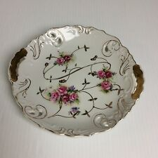 Antique Cake Plate Handpainted Pink Flowers Gold Reticulated Cabinet display