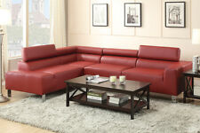 Sectional sofa Couch with wide seating & Adjustable Head rest in Bonded Leather