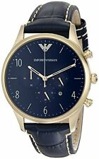 Emporio Armani Men's Classic Chronograph AR1862 Blue Leather Gold-Tone Watch
