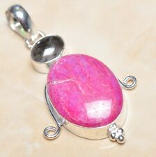 "Handmade Cherry Ruby Natural Gemstone 925 Sterling Silver Pendant 2.25"" #P04093"
