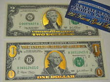 SET OF TWO GENUINE 22 K  GOLD  1 & 2 DOLLARS  BILL......