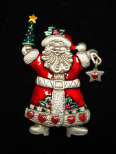"""JJ"" Jonette Jewelry Silver Pewter 'Colorful Detailed SANTA' Pin ~ CHRISTMAS"