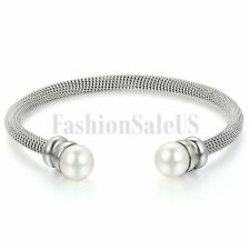 Women's Stainless Steel Synthetic Pearls Twisted Cable Wire Bangle Bracelet Cuff