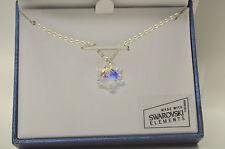 Aurora Borealis Snowflake Edelweiss Pendant Necklace w Swarovski Crystals NIB