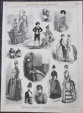 Reisetoiletten englischen Mode HOLZSTICH von 1885 Kleidermode England
