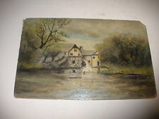 Vintage antique 19/20th oil painting landscape lake watermill mystery artist ...