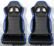 NEW 2 BLACK & BLUE PVC LEATHER RACING SEATS + SLIDER RECLINABLE ALL DODGE