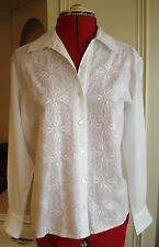 LADIES WHITE EMBROIDERED SHIRT BLOUSE SMALL MEDIUM 8 – 10