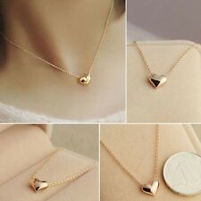 Elegant Women Lady Simple Design Gold Color Chain Heart Love Pendant Necklace
