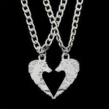 2PC Charm Kissing Wolf Silver Pendant Necklace Lover Couple Best Friend Jewelry