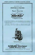 New Way Gas Engine Motor Instruction book Manual Hit Miss Stationary Flywheel