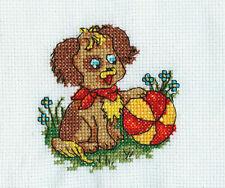 Dekoration Handarbeit aus der Lausitz Bild Stickbild Tier Hund mit Ball gestickt
