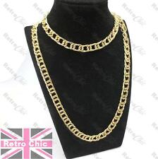 "30""long GOLD TONE CHAIN big wide double curb link FASHION BLING 80cm NECKLACE"