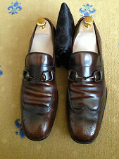 Gucci Men's Shoes Brown Leather Horsebit Loafers UK 7 US 8 EU 41 Made in Italy
