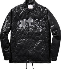 Supreme Snap Front Quilted Coaches Jacket Large Black Box Logo Air Force Arc