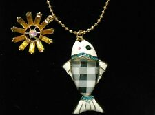 Betsey Johnson Mermaids Tale Gingham Checkered Fish & Flower Gold Tone Necklace