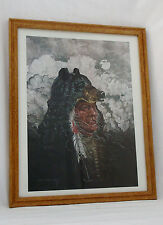 Beautiful Bear/Indian Signed/Framed Print by Carlos Hadaway-22 X 17 1/2""