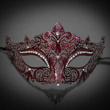 Woman Maroon Burgundy Luxury Mask Venetian Halloween Ball Masquerade Mask