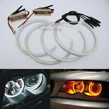 4X Dual Color White Yellow SMD LED Halo Ring For BMW E46 2D Coupe Angel Eyes DRL