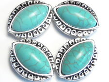 4 - 2 HOLE SLIDER BEADS MARQUIS SHAPED TURQUOISE LOOK CABOCHONS WESTERN TRIBAL
