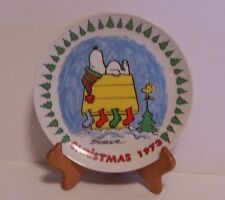 Snoopy Christmas Plate Woodstock Stockings Dog House Schmid Vintage Peanuts 1973