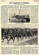 """Die Engländer in Belgien """" Tom Atkins & sein Marsch""""  Text-& Bilddokument 1914"""
