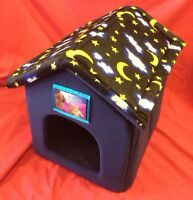 Dog Rabbit Cat Bed House Soft Cosy Folds Flat With Velcrow Removable Roof BLUE