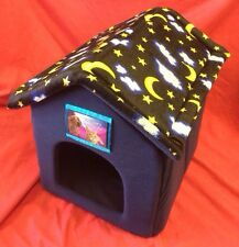 Rabbit Dog Cat  Bed House Soft Cosy Folds Flat With Velcrow Removable Roof BLUE