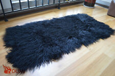 Genuine Mongolian Sheepskin Area Rug Curly Wool Rectangle Sheep Fur Rug 110x55cm