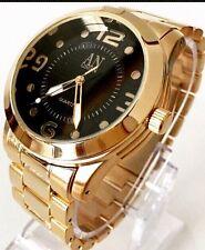 Mens Wrist Watch  Gold Metal Steel Strap Classic Black Dial Luxury Style Dressy