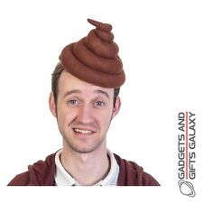 NOVELTY POO HEAD HAT SNUG FIT + CHIN STRAP funny toy gift adult fancy dress