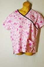 SAMANTHA MARA Plus 2X Nurses Scrubs Top Cotton Blend Pink Hearts Breast Cancer