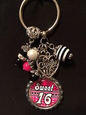 Sweet Sixteen Bottle Cap Key Chain  16th Birthday
