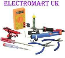 12PC ELECTRONICS TOOL KIT SOLDERING IRON SOLDER PUMP DIGITAL MULTIMETER  ETC