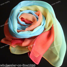 New Fashion Women's Long Blue Yellow Red Scarf Wraps Shawl Stole Silk Scarves